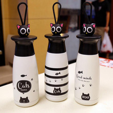 Cartoon Cute Cat Thermo Mug Vacuum Flask Cup Stainless Steel Thermos Water Bottle Thermal Tumbler Travel Car Kettle Coffee Mugs