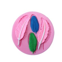 Beautiful 4 Kinds Feather  Leaf Shape  Silicone Cake Mold , 3D Silicone Mould For Cookies  Fondant Cake Tools Cake Decorating