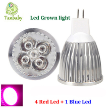 Tanbaby 10W led plant grow light 4 Red 1 Blue DC12V MR16 Full spectrum led grow lights Hydroponic Lamp Bulb for Flower Plants