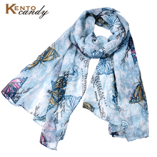 lovely butterfly print scarf women bandana 2017 top luxury brand animal soft design hijab sjaal muslim islam scarf foulard femme