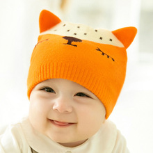 Fox Pattern Baby Knitted Hats Boys Girls Lovely Style Winter Warm Soft Cap Kids Children Age 1 To 5 Years Old Type JN01(China)