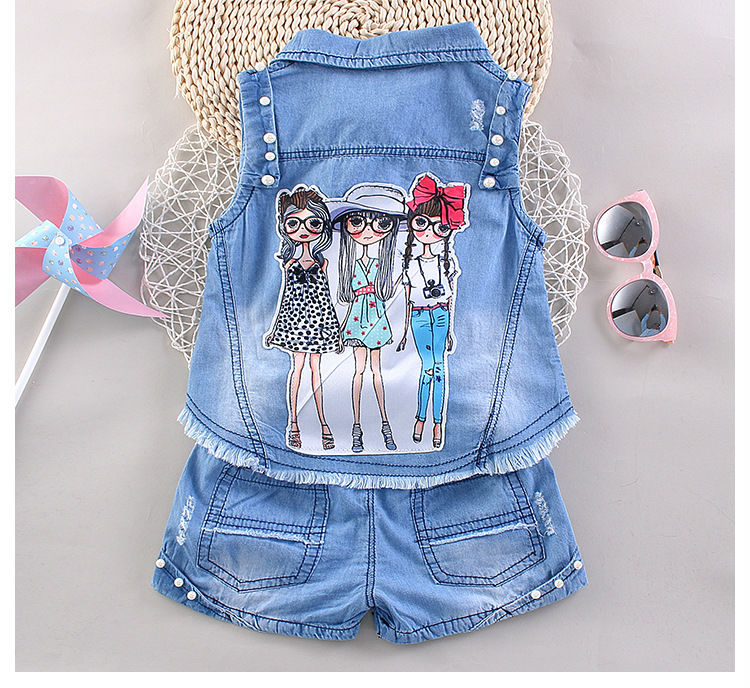 Kids Clothing Sets Baby Girl denim vest + shorts two pieces sets Christmas Costumes for girl denim jackets for girl baby clothes<br><br>Aliexpress