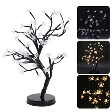 45cm LED Cherry Blossom Bonsai Tree Fairy Twig Lights Table Floor Lamps Desk Light Home Room Night Light Decoration(China)