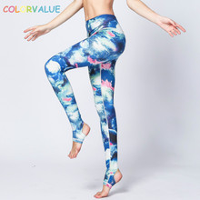 Buy Colorvalue Blue Star Printed Fitness Yoga Leggings Women Anti-sweat Sport Leggings Yoga Pants Breathable Workout Running Tights for $15.65 in AliExpress store