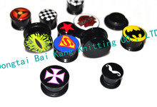 New Screw Felsh Tunnel Ear Plugs Expander Stretchers Oil design Superman Popular earring 6-16mm Mixed Logos Acrylic Free Shippin