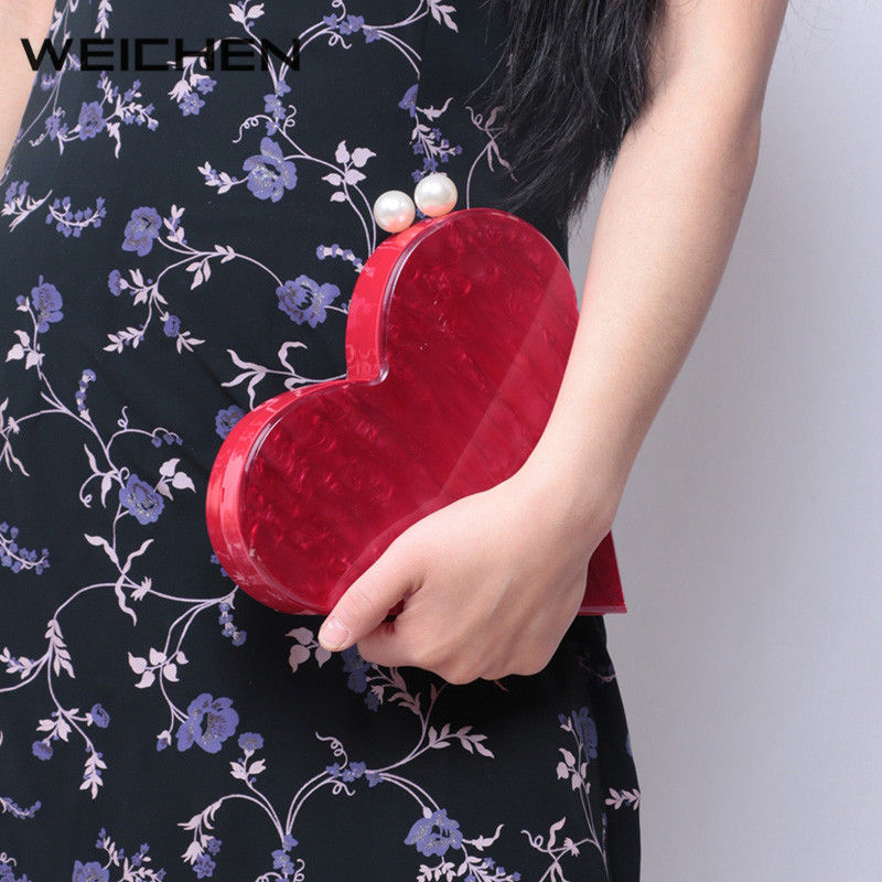 Evening Clutch Bags Red 2017 Acrylic Pearl Women Wedding Shoulder Bag Heart-shaped Crossbody Bags Female Party Bag Dames Tassen<br>