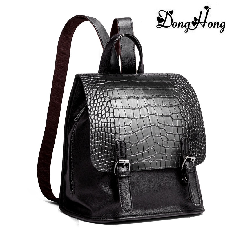 Fashion Genuine Leather Square Alligator Women Backpack Solid Simple School Bag For Teenager Backpack Handsome Girl Shoulder Bag<br>