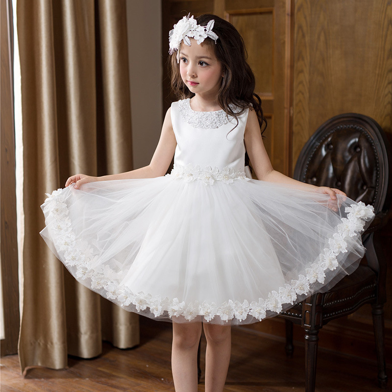 Beading Bling White Girls Dress  Party Wear Flower Girl Vestido for Wedding 2017 Girls Clothes 3 4 6 8 10 12 Years Old RKF174012<br>