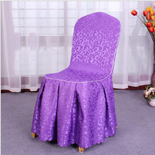 purple wedding supplier banquet polyester ruffled weave damask jacquard chair cover with skirt free shipping 50 pcs/lot(China)