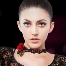 Sexy queen rose neck ornaments Black Vintage Lace clavicle Necklace Chain false collar female