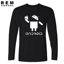 2016 New Fashion Men Long sleeve T Shirts Android Robot Male apple humor logo printed funny t shirt short sleeve Round Plus Size(China)
