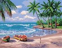 2016 DIY Frameless Pictures Paint By Numbers Digital Oil Painting On Canvas handwork gift set of Sea Beach