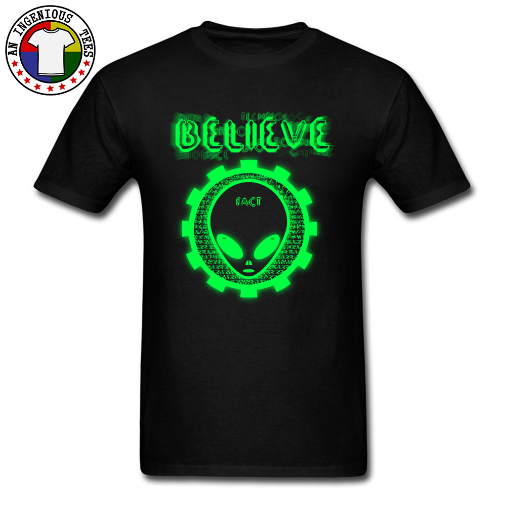 Believe Alien Fact Men Fashionable Tops Tees Crew Neck Summer 100% Cotton Top T-shirts Family Short Sleeve Tops Shirts Believe Alien Fact black
