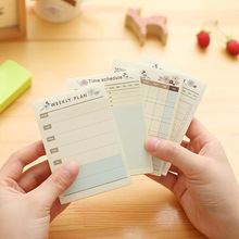 Cute School Office Supplies Daily Weekly Monthly Plan Desk Note Pad Planner Agendas Checklist Sticky Notes Post It Label(China)