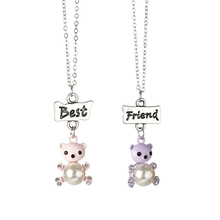 2pcs/Set Double Lovely Bears Necklace Jewelry For Best Friends Silvery Color Bead Pendant Jewelry Wholesale Friendship Gift