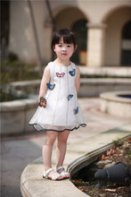 2017 butterfly girls pretty princess dresses baby cute summer dress kids sleeveless dress for girls white baby clothing