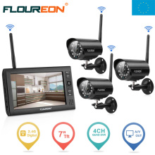 "EU Shipping ! FLOUREON Digital 7"" LCD Baby Monitor Wireless Outdoor 3 CCTV Camera System DVR Security Surveillance Camera set"