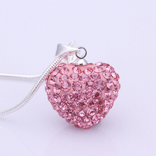 Pendant Necklace 2017 Women Fashion Rhinestones Blue Heart Pendant Necklace Silver Plated Rose Crystal Heart Necklace For Women
