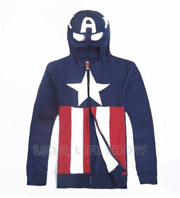 Горячая Длинным Рукавом Молнии Мужчины Капитан Америка Масках Капюшоном Косплей Толстовка Мужская Куртка Плюс Размер(China (Mainland))