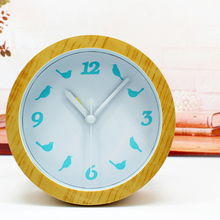 Fashionable Simple Natural Wooden Desk Clock Blue Bird Table Clock  Alarm Clock with Arabic Numbers Non-ticking Round Shape