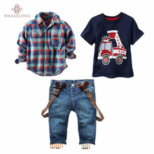 Wasailong Children's clothing sets for spring Baby boy suit Long sleeve plaid shirts+car printing t-shirt+jeans 3pcs suit set