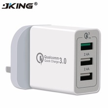 Buy JKING 3 Port USB Charger Quick Charge 3.0 Fast Charger QC3.0 UK Plug USB Adapter 30W Portable Wall Charger Samsung S6 S7 S8 for $9.49 in AliExpress store