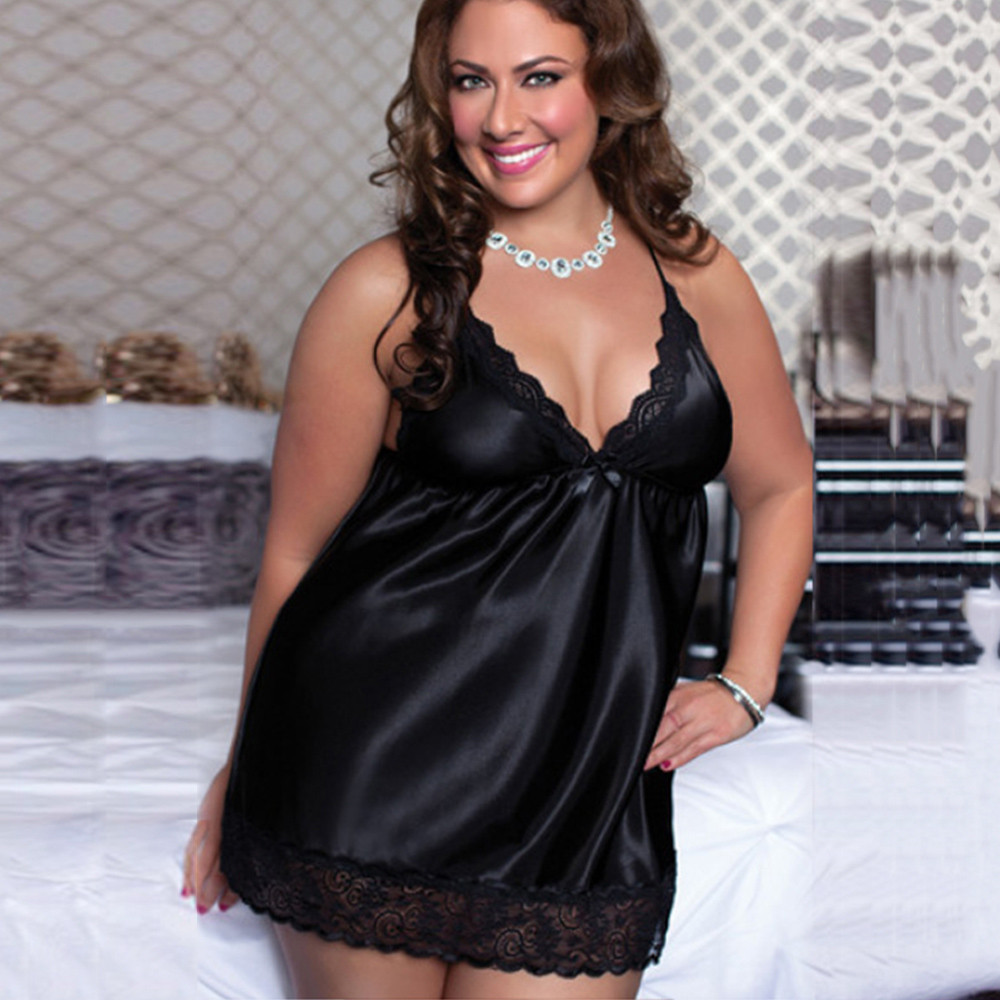 2019 Plus Size M-6XL Night Dress Nightgown Sexy Nightwear Vintage Lace Lingerie Nighty Dress Camisola  Sleep Wear Nightdress (China)