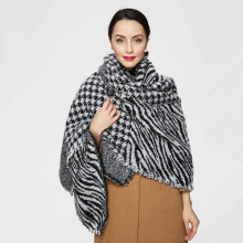 Top quality Winter Scarf Big Plaid Scarf Designer Acrylic Basic Shawls Women's Zebra-stripe Leopard Houndstooth Scarves(China)