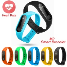 Factory Price M2 Smart Bracelet Wristband Heart Rate Monitor Fitness Tracker Touchpad OLED PK Original Xiaomi Mi Band 2 Gift
