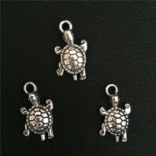 4pcs 13*22 mm Antique Silver Marine Organism Sea Turtle Tortoise Charms Pendant Handmade Animal Accessories for Jewelry Bracelet