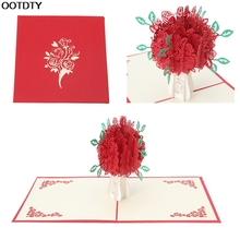 3D Rose Greeting Card Pop Up Paper Cut Postcard Birthday Wedding Valentines Gift