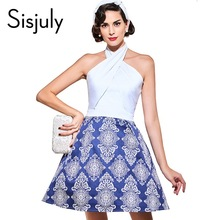 Buy Sisjuly vintage dresses 2017 patchwork 1950s style spaghetti mimi women elegant summer party dress sleeveless vintage dresses for $10.86 in AliExpress store