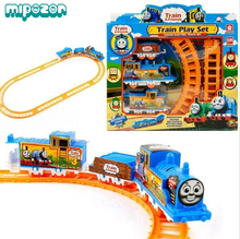 Mipozor Train Play Set Thomas and Friends Battery Motorized Train Track Orbital Electric Train Rail Baby Children Toy Gift