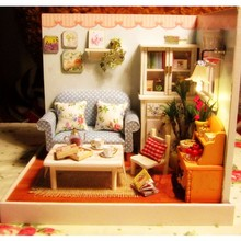Cutroom DIY Doll House With Dust Cover + LED Light Miniature Dollhouse Living room Model Gift Blue Sofa Funny Pretty Decor Toys