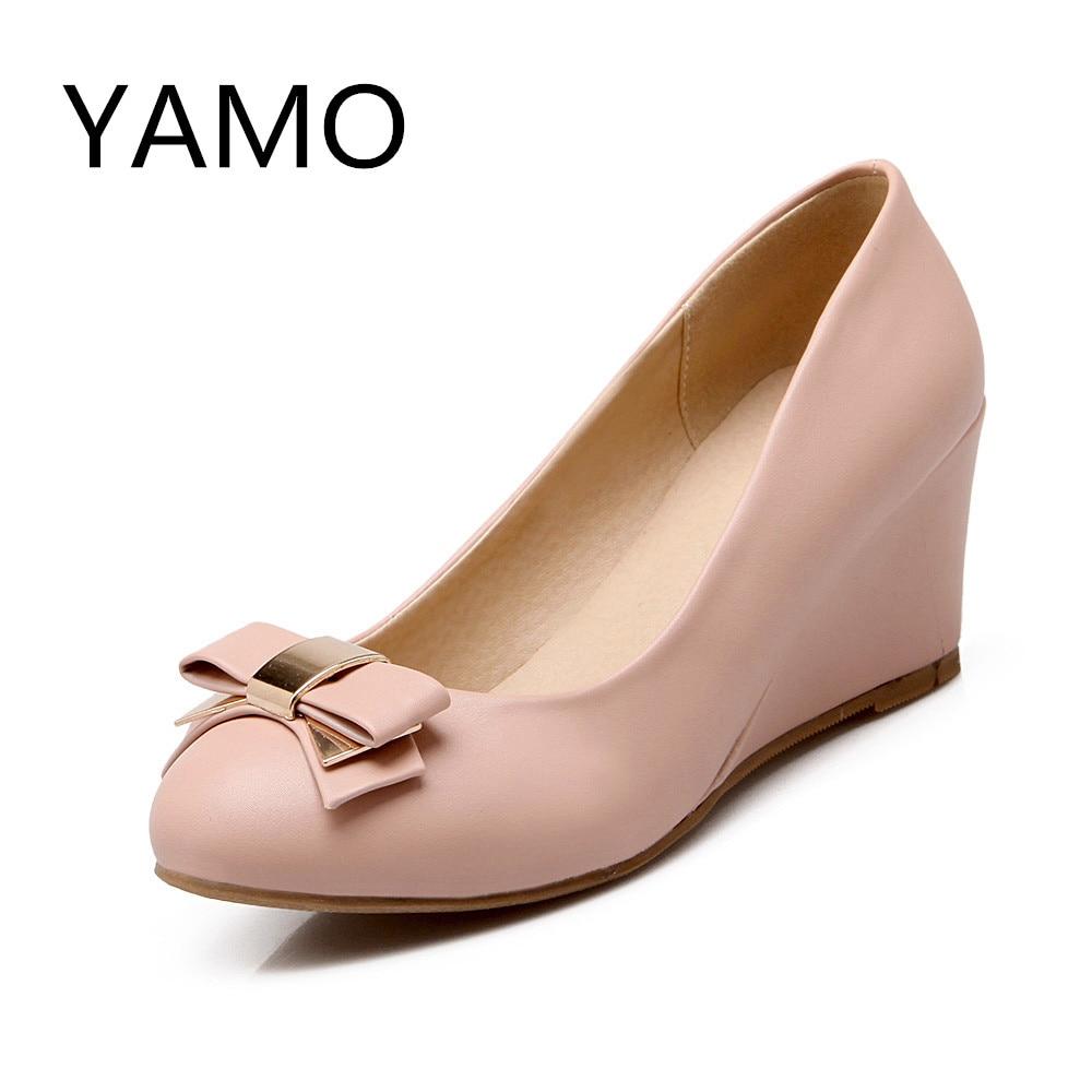 New arrive closed toe wedge heels shoes women high heel wedding shoes bride women light blue pumps pink bow shoes 2016<br><br>Aliexpress