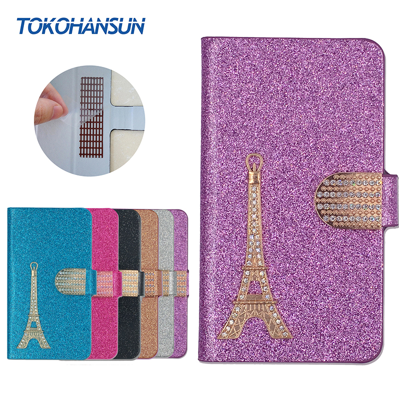 HOMTOM HT17 Case Luxury Bling Flip Wallet Effiel Tower Diamond 2017 New Hot PULeather cover TOKOHANSUN Brand