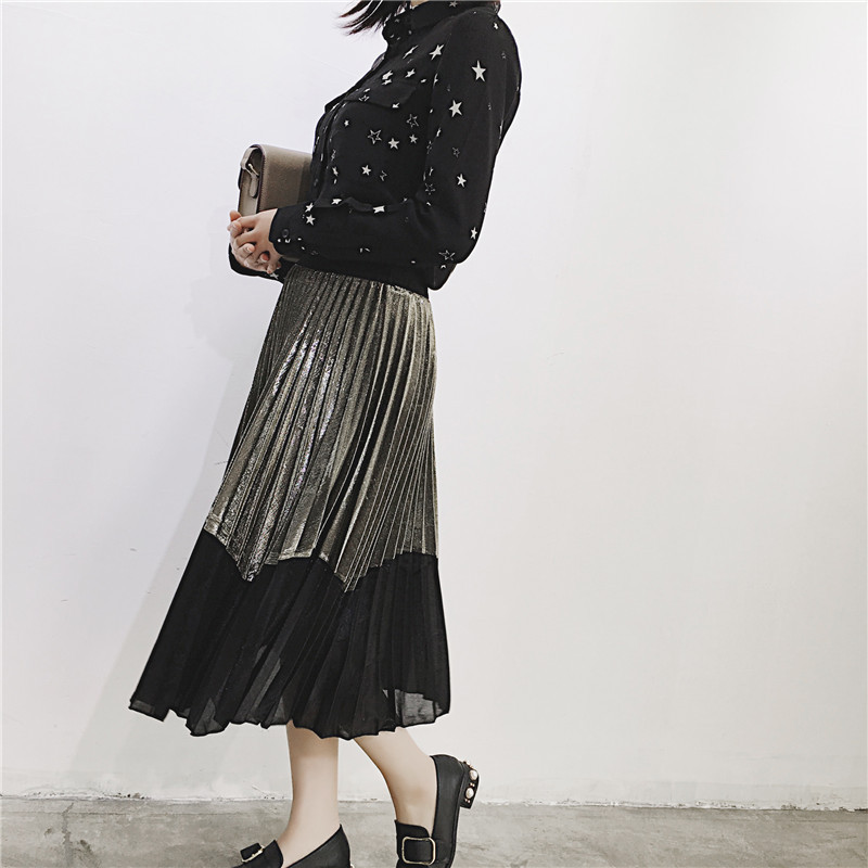 [GUTU] Autumn Summer 2018 Korean New Fashion Patchwork Color Bottoms All-match Elastic Waist Pleated Skirt Loose Women F89201 21