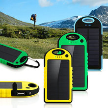 Dual USB %100 5000mAh Waterproof Solar Power Bank Portable Charger Outdoor Travel Enternal Battery Powerbankf for Android phone(China)