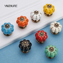 2017 Cabinet Knobs Furniture Knobs Ceramic Handle Seven Color Pumpkin Cartoon Pasta Modern Simple Cabinet Drawer Factory Direct