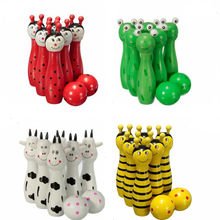 Hot Selling Cute Wooden Animal Style Bowling Toy Bowling Balls Game Baby Intellectual Toys Children Random Send