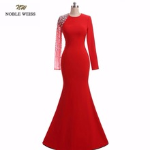 NOBLE WEISS Mermaid Evening Dresses High Quality Special Occasion Dresses Beading Long Red Formal Dresses With Long Sleeves(China)