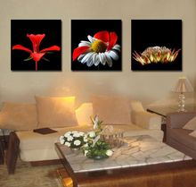 3 Pieces/set Deep Colors Red Flowers Wall Art Pictures for Lving Room Home Decoration Canvas Printed Painting Poster Framelss