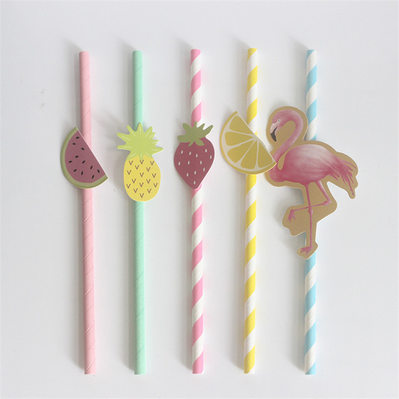 10pcs Colorful Fruit Paper Straws Drinking Straws Birthday Party Decor Supplies
