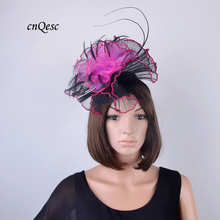 Black/hot pink Sinamay crin Fascinator wedding hats w/organza flowers&feathers for Kentucky Derby,church,party,races,QF127(China)