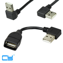 10cm 20cm USB 2.0 A Male to Female 90 Angled Extension Adaptor cable USB2.0 male to female right/left/down/up Black cable cord(China)