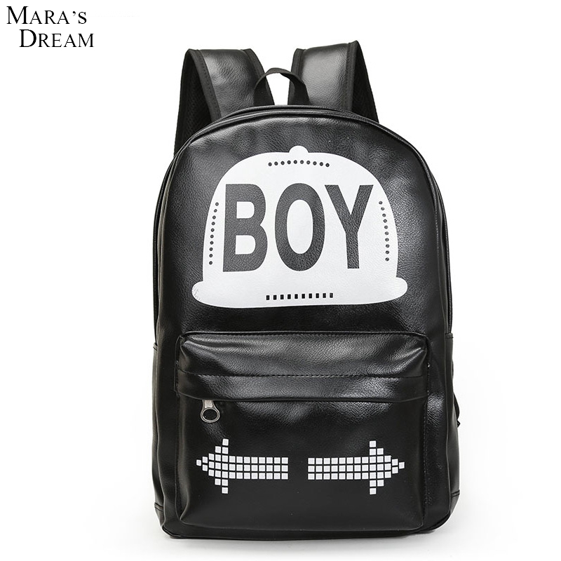 Maras Dream 2017 Couple Models Fashion Solid Color Printing PU Unisex Schoolbag Travel Computer Backpack Mustache Hat<br><br>Aliexpress
