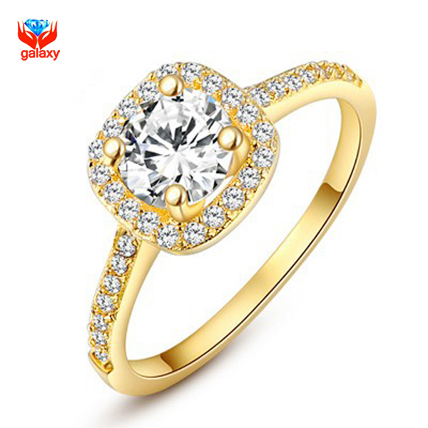Yhamni Fashion Jewelry Real 24k Gold Filled Engagement Ring Luxury 1 Carat Round Cz Diamant Zircon