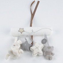 2016 New arrival cot hanging toy, Baby Rattle Toy, Soft Plush Rabbit Musical Mobile Products baby gift