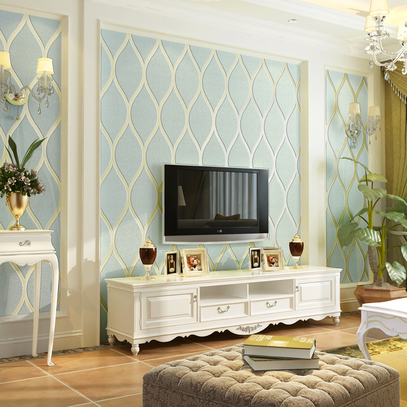 European Style TV Background Wall Paper Home Decor Modern Wavy Pattern 3D Breathable Non-woven Wallpaper For Living Room Bedroom<br>