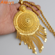 Anniyo Africa Big Pendant Necklaces Women Ethiopian Jewelry Gold Color/Nigeria/Congo/Sudan/Ghana/Arab Gifts #064206